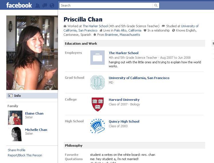 Inikah Alamat Profile FB Asli Pendiri Facebook Mark Zuckerberg & Pacarnya Priscilla Chan? (3/3)