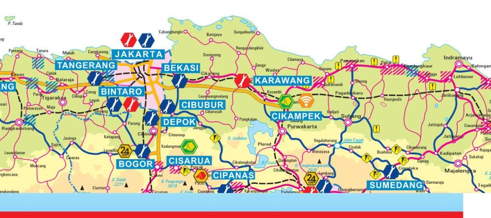 Peta Jalur Pantai Utara Pantura Jakarta-Surabaya Surabaya-Jakarta (1/4)