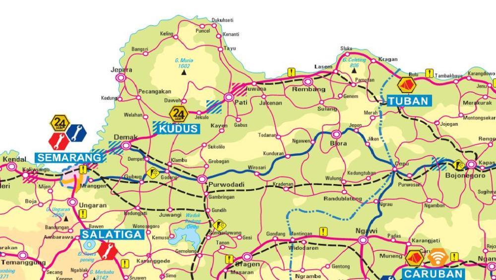 Peta Jalur Pantai Utara Pantura Jakarta-Surabaya Surabaya-Jakarta (3/4)