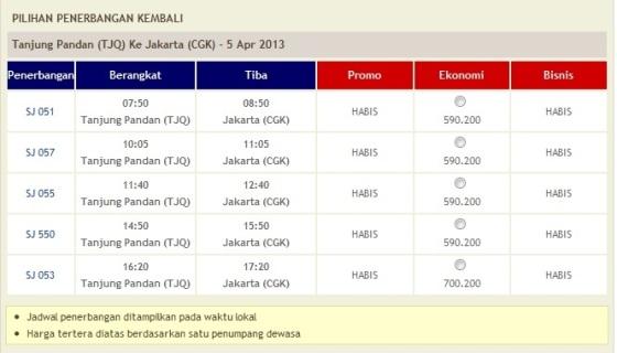 Harga Tiket Sriwijaya dari Tanjung Pandan ke Jakarta 5 April 2013