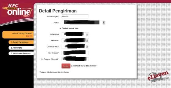 Detail Pengiriman Pesan Antar Online KFC