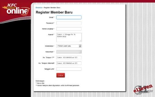 Registrasi Member KFC Pesan Antar Online